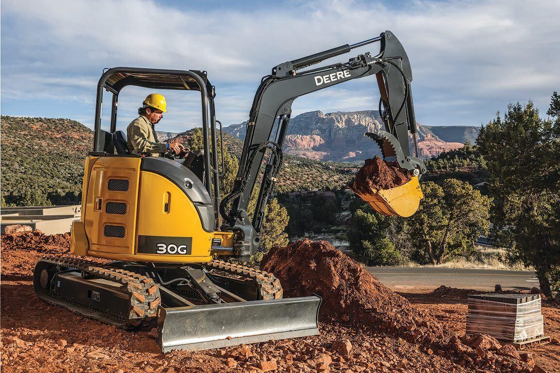 Smick Lumber Rental Excavator in action